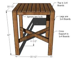 bar height patio table plans ana white outdoor modern bar table x base diy projects
