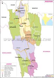India Map Of States by Mizoram Map