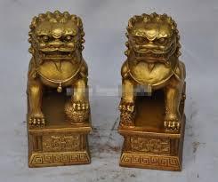 foo lion statue brass feng shui evil guardian door fu foo dog lion statue