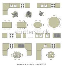 Set Design Floor Plan Set Top View Interior Icon Design Stock Vector 665716264