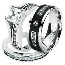 titanium wedding ring sets st0w383 arti4317 hers and his stainless steel princess wedding