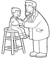 doctor checked at little kid condition coloring page