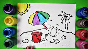 learn to draw and color fun summer beach scene coloring page youtube