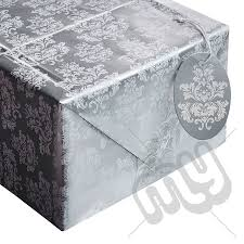 silver wrapping paper metallic silver white damask print wrapping paper 2 sheets 2