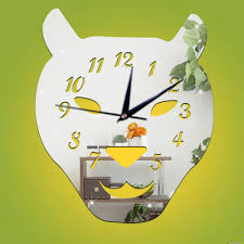 wall clock stickers mirror bird leaves shape pointer tiger head wall clock stickers mirror bird leaves shape pointer tiger head number diy home decor bedroom decals clocks
