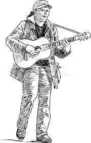 sketch of a street guitarist stock vector image 89902362