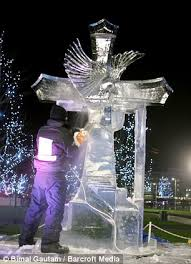 london on ice shimmering statues lit up for sculpting festival