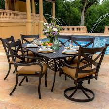 Swivel Rocker Patio Dining Sets Avondale 7 Aluminum Patio Dining Set With 2 Swivel Rockers
