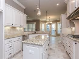 Rectangular Kitchen Ideas Spacious White Kitchen With Light Travertine Backsplash And