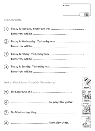 days of the week in english printable resources