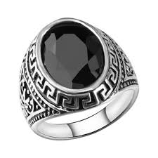 aliexpress buy mens rings black precious stones real western style vintage silver ethnic signet rings black gem