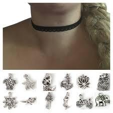 black charm choker necklace images Charm black simple lace choker charm necklace 13 inch necklace jpg