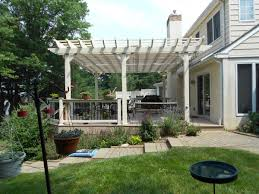 exterior cool green lawn design with pergola covers also white