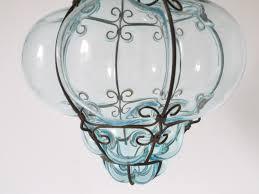 Murano Glass Lighting Pendants by Vintage Crystal Blue Murano Glass Cage Pendant Lantern Omero Home