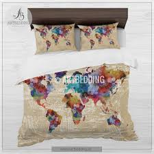watercolor world map bedding boho chic watercolor duvet cover set