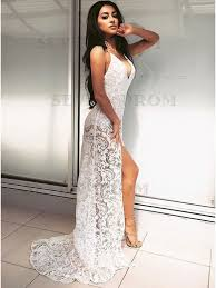 white lace prom dress buy sheath spaghetti straps sweep white lace prom dress from