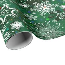 green snowflake pattern wrapping paper zazzle