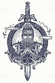 viking tattoo and tshirt design bearded barbarian of