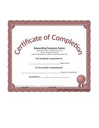 certificate of completion free certificate of completion