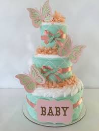 Pink Baby Shower Diaper Cake Topped With Butterfly Things I