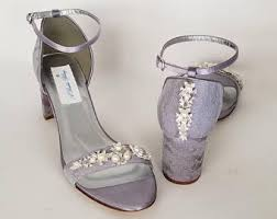 wedding shoes chunky heel lilac wedding shoes etsy