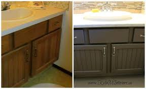 Painting Bathroom Cabinets Ideas How To Update Oak Cabinets With Paint Amherst Charcoal Painted
