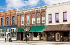 a photo of a typical small town main street in the united states