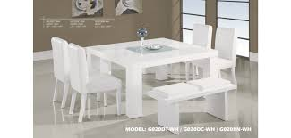 white dining room set g020dt wh square table 7 white dining set