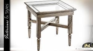 table bout de canap en verre bout de canapé bois vieilli plateau verre et miroir vénitien