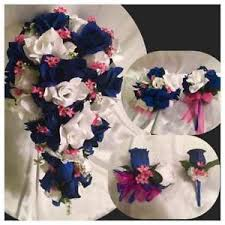 wedding flowers royal blue 21 package royal blue pink bridal bouquet silk wedding