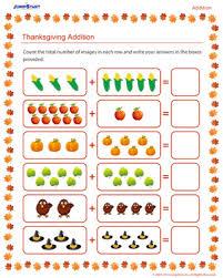 thanksgiving addition thanksgiving worksheet for kids