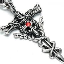 dragon cross necklace images Hip hop silver color double dragon cross sword men necklace punk jpg