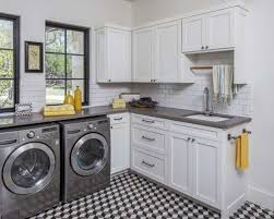 White Cabinets For Laundry Room Black And White Tile Floor Laundry Room Ideas Photos Houzz