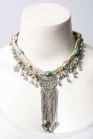 chain collar necklace images Turquoise metal braid bell and chain collar necklace jpg