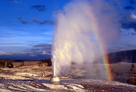 Wyoming national parks images Free stock photo of rainbow over the geyser in yellowstone jpg