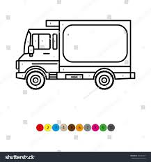 illustration coloring book kids truck transportation stock vector