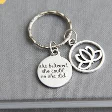 graduation keychain she believed she could so she did key ring graduation gift