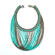 handmade beaded necklace images Handmade beaded necklace in bronze and turquoise colored beads jpg