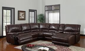 U Pc Reclining Sectional Sofa In Brown Bonded Leather - Sectionals leather sofas