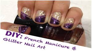 diy french manicure u0026 glitter nail art using tape youtube
