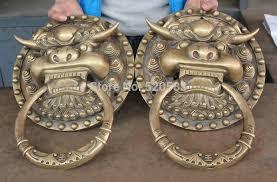 foo dog door knocker 16 brass fengshui fu foo dog guardion lion gate door