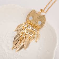 long gold owl necklace images Famshin 2016 new fashionable stylish gold leaves owl charm chain jpg