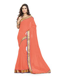 Peach Color Stylish Peach Color Chiffon Fabric Saree For Party Wear By Viva N