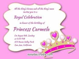 invitation greetings princess birthday invitation wording sles and ideas easyday