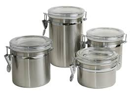 amazon com home basics canister set 4 piece kitchen storage