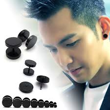 ear stud men 1pc cool black stainless steel ear stud men womens piercing