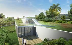modern house design sloping site garden loop concept home