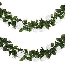 6ft artificial uv protected white silk flower chain garland