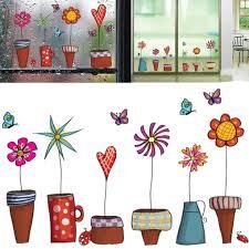 cartoon flower butterfly wall stickers diy decal window glass wall