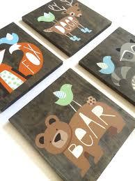woodland nursery art set of 4 rustic nursery decor woodland